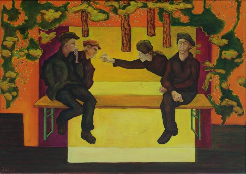Pausenraucher · 2012, Acryl, Öl auf Nessel, 71 x 50 cm