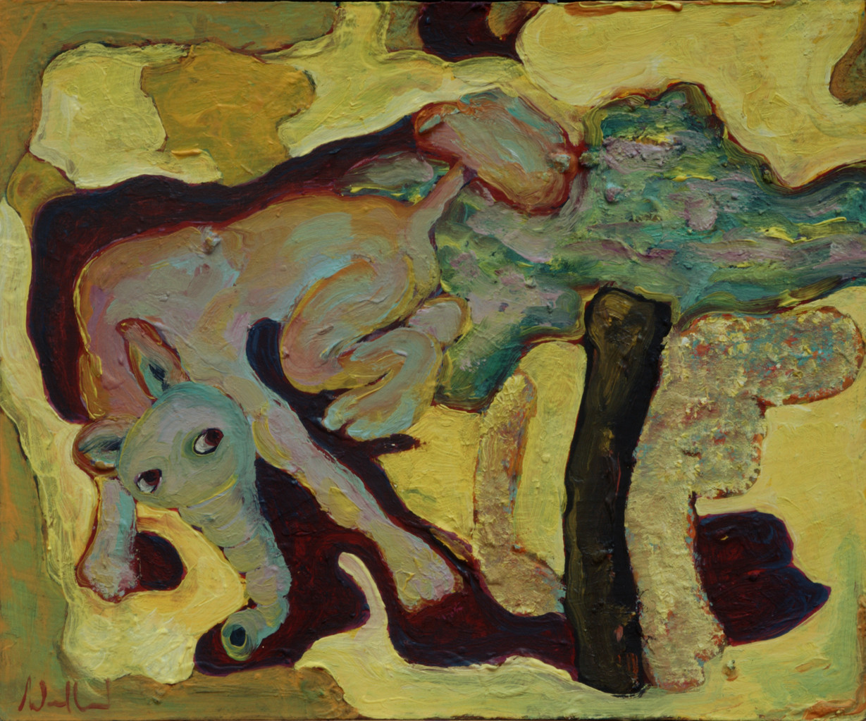 Elefantenpudel · 2013, Acryl, Öl auf Pappe, 16 x 19 cm