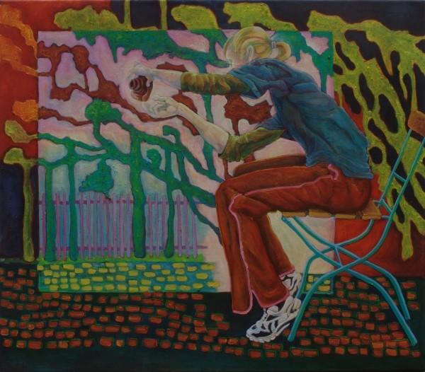 Schnappschuß · 2011, Acryl, Öl auf Nessel, 65 x 75 cm