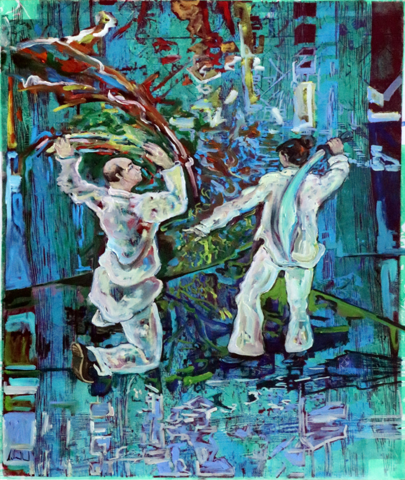 Tai Ji I · 2020 · 60 x 50 cm · Öl auf  Holzschnit auf Stoff