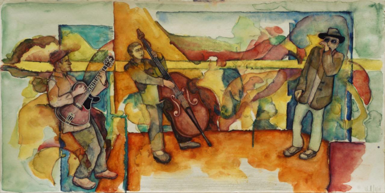 Combo · 2012, Mischtechnik auf Papier, 30 x 60 cm