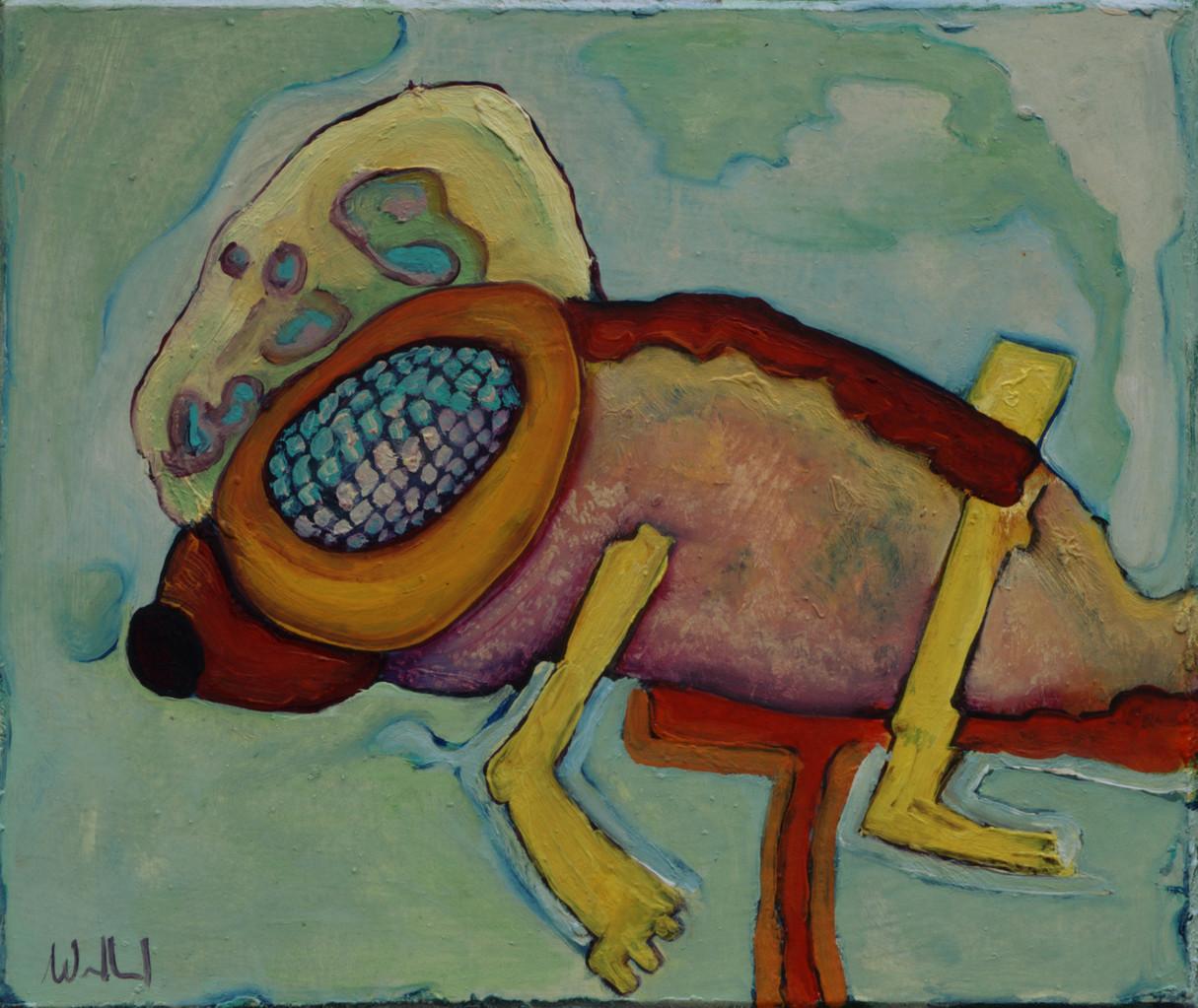 Fischfliege · 2013, Acryl, Öl auf Pappe, 20 x 16 cm