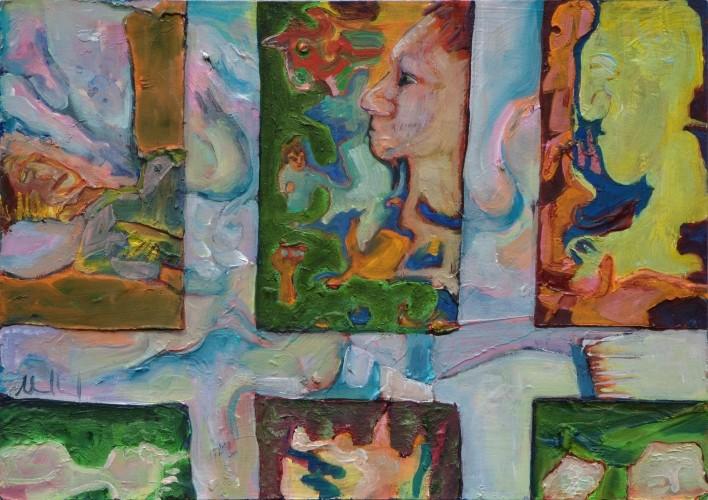 Ausblicke · 2012, Acryl, Öl auf Pappe, 21 x 30 cm