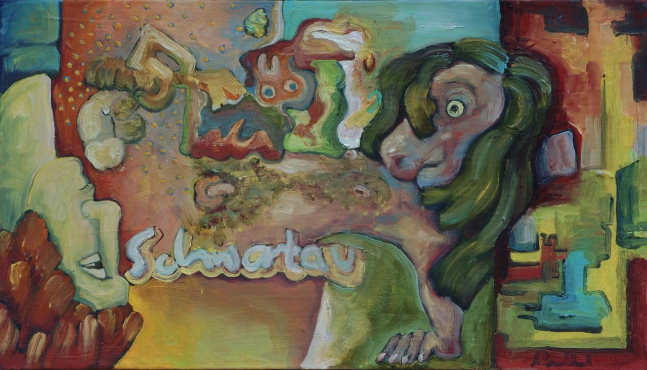 Schwartaupferd · 2013, Acryl Öl auf Pappe, 15 x 26 cm
