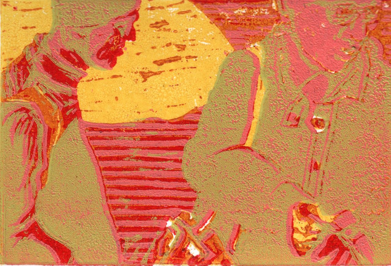Gespräch · 2013, Holzschnitt, 8 x 12 cm
