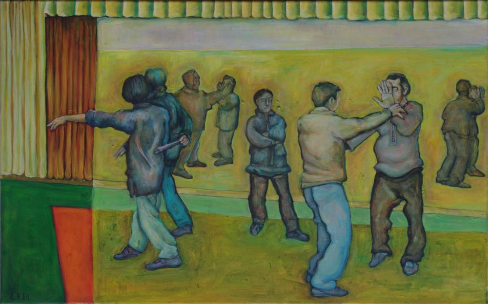 Partnerform · 2012, Acryl, Öl auf Nessel, 50 x 80 cm