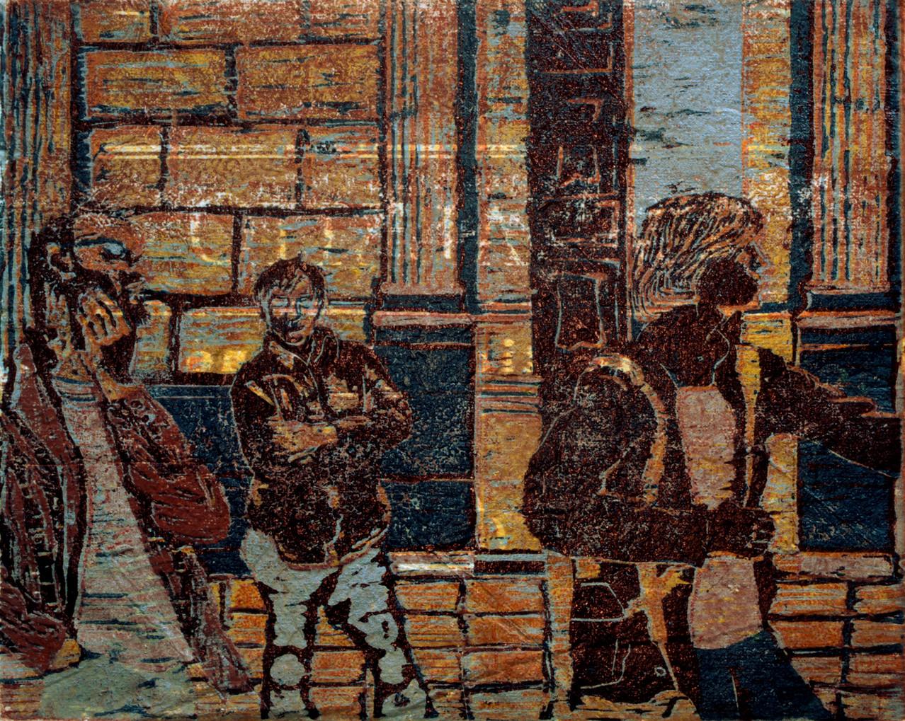 Touristen · 2013, Holzschnitt, 26 x 32 cm