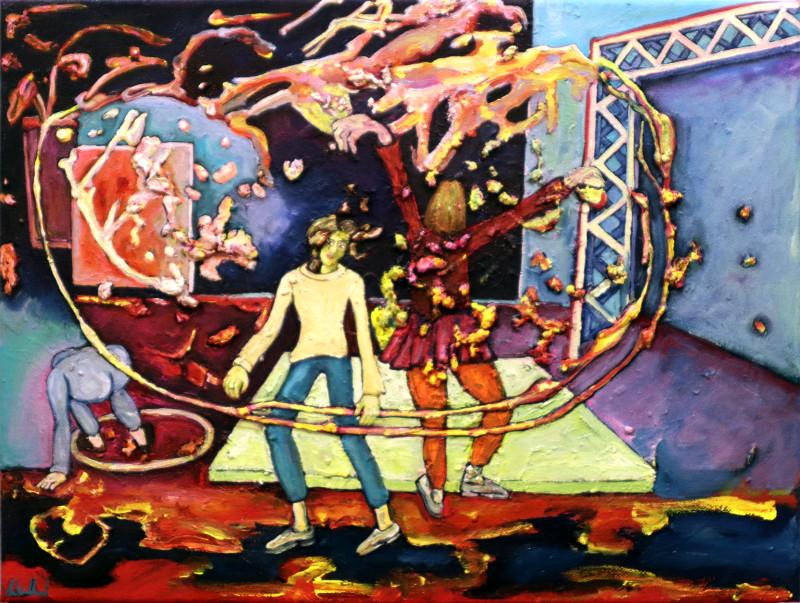 Tanzcompanie 2020, Acryl, Öl auf Nessel, 30 x 40 cm