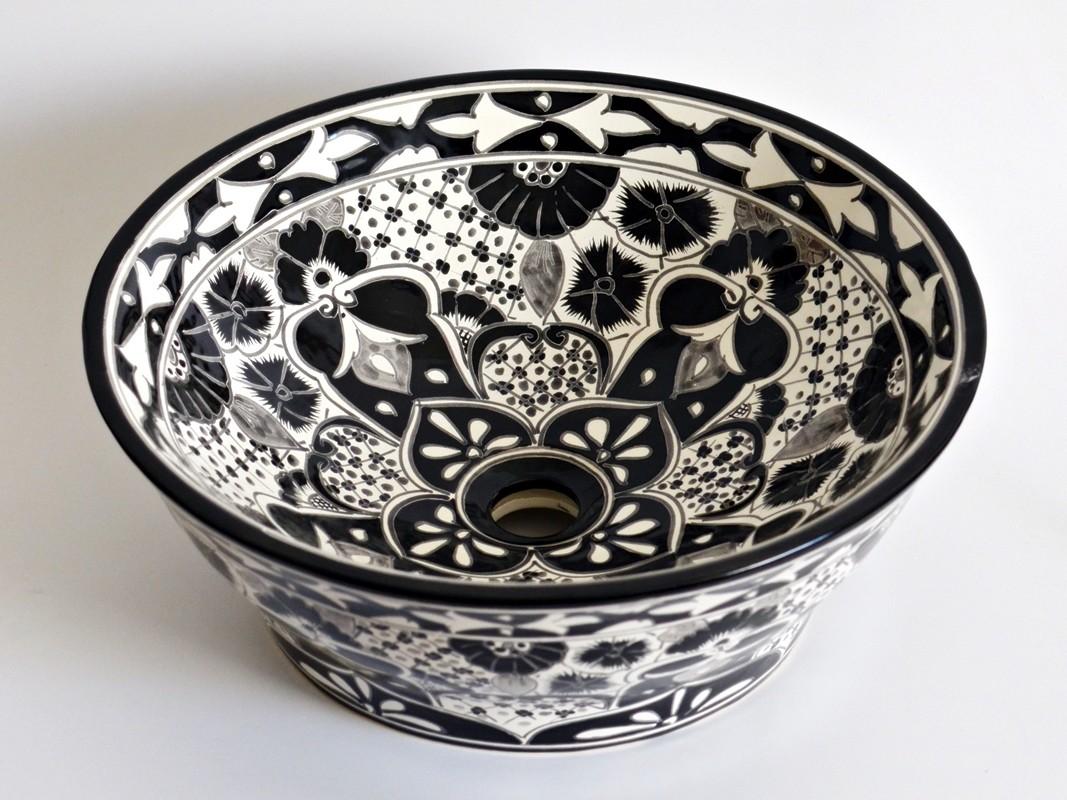 Santiago - Wunderschönes Aufsatzwaschbecken in Schwarz-Weiß aus mexikanischer Keramik