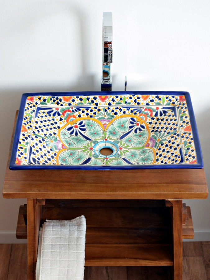 Rechteckiges Design Aufsatzwaschbecken aus Mexiko MEX6 - Caribe