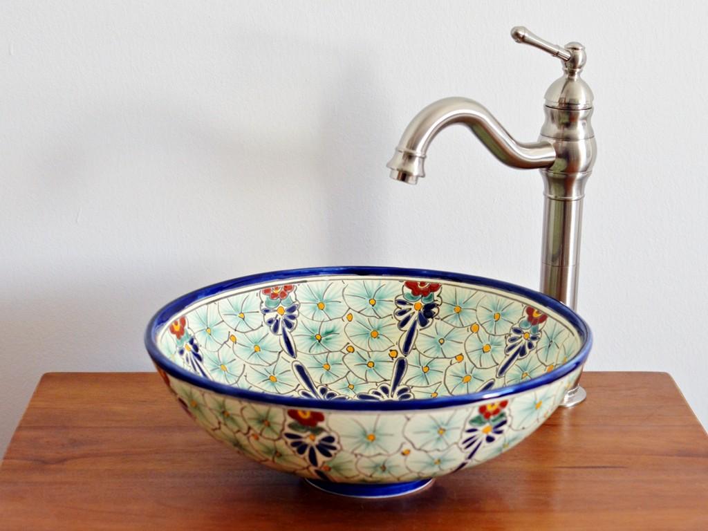 Kleines Aufsatzwaschbecken rund aus Mexiko - PASION - 35 cm