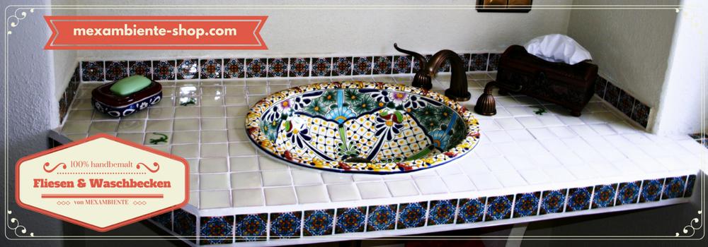 originelle ausgefallene waschbecken mexambiente waschbecken fliesen aus mexiko. Black Bedroom Furniture Sets. Home Design Ideas