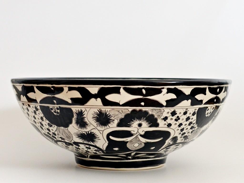 MEX3 Santiago - Design Aufsatzwaschbecken in schwarz-weiß, handbemalt