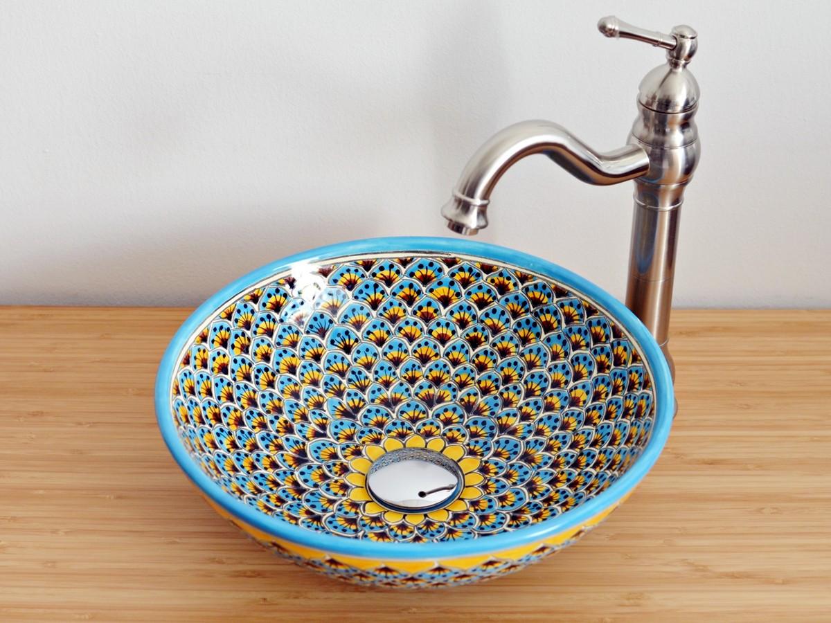 Einzigartiges Handwaschbecken aus Mexiko mit Muster PAVO TÜRKIS