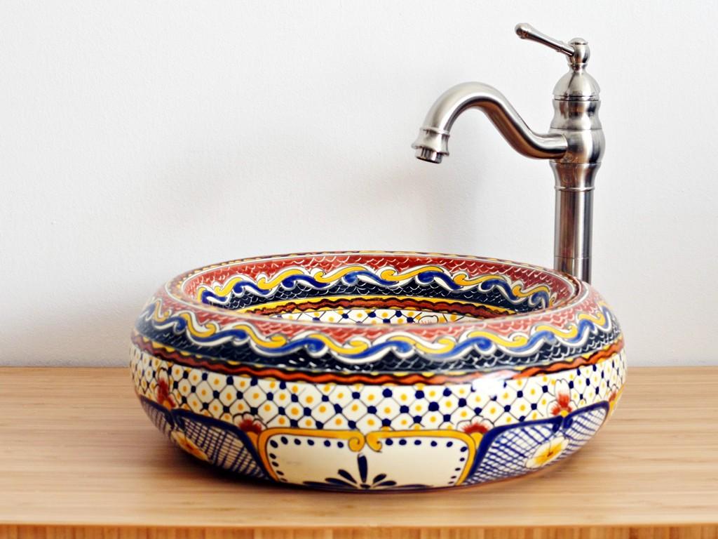 Design-Waschbecken MAYA aus Mexiko rund - Hingucker für Bad oder Gäste-WC