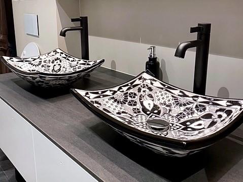 Aufsatzwaschbecken MEX1 Santiago in Schwarz-Weiß
