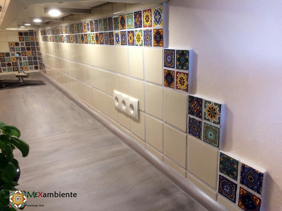 Mexikanische Dekorfliesen 5x5 cm plus Perlweiss in 11x11 cm von Mexambiente