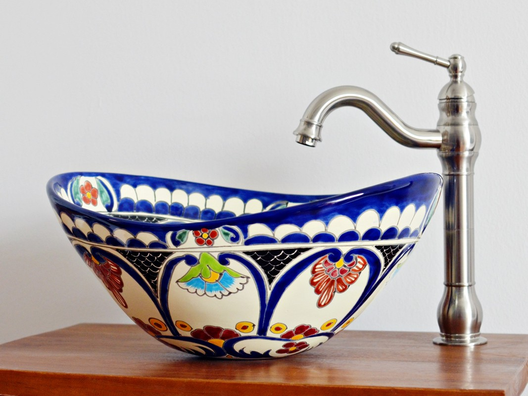 Mexikanisches Aufsatzwaschbecken oval MEX7 - Natura