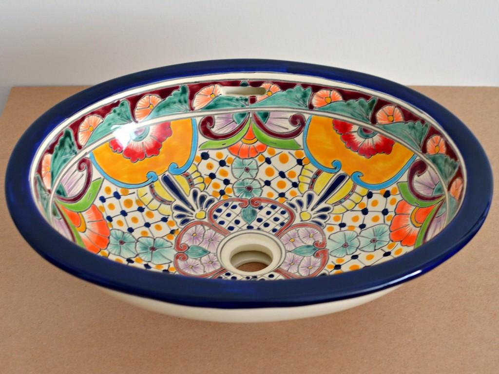 Frida - Handbemaltes Einbauwaschbecken oval aus mexikansischer Keramik