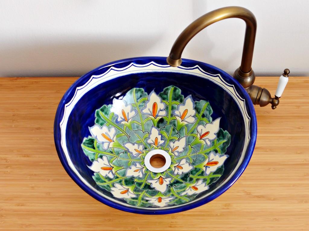 Handbemalte Waschschale CALLA - oval