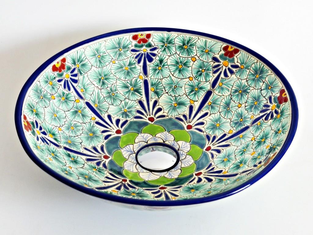 Großes Aufsatzwaschbecken aus MEXIKO - MEX5 PASION, handbemalt