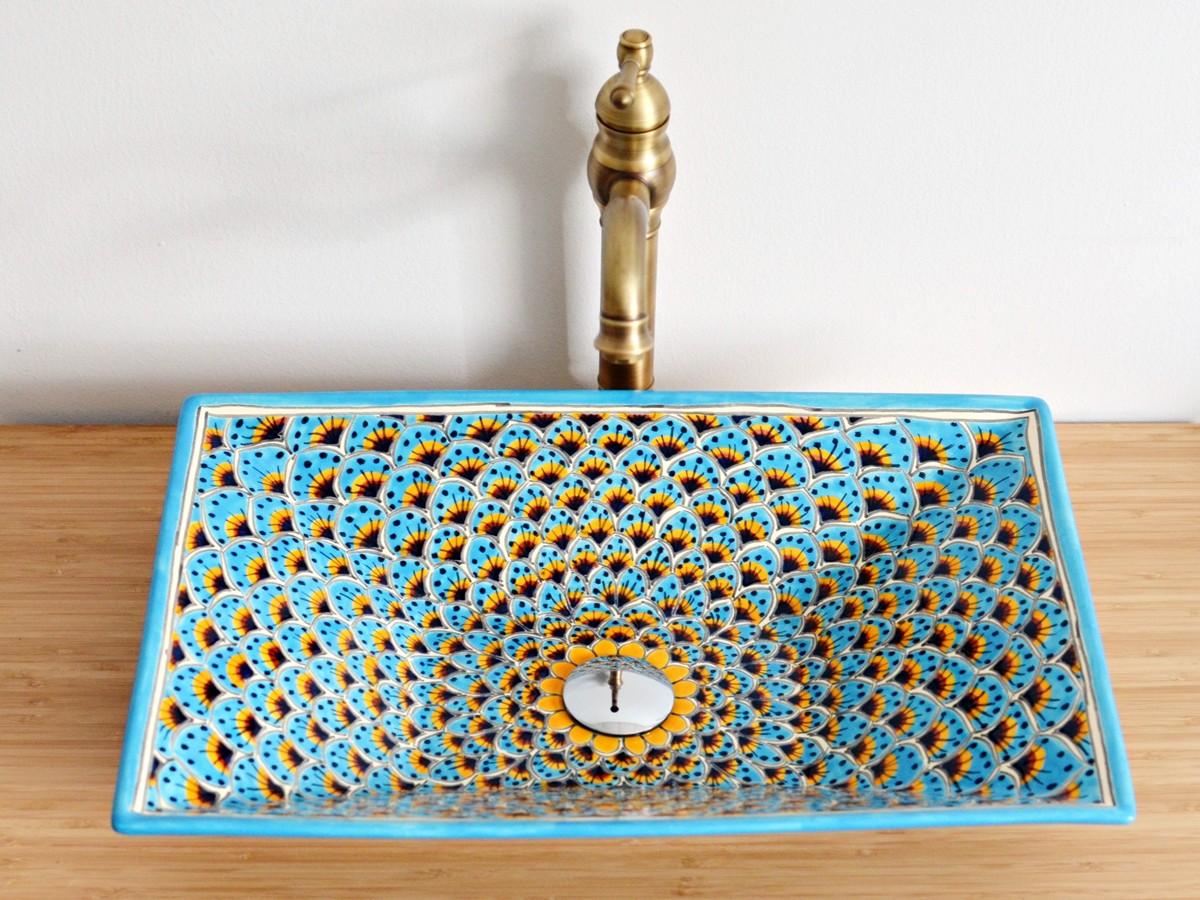 Aufsatzwaschbecken rechteckig PAVO TÜRKIS - exotisches Design von Mexambiente