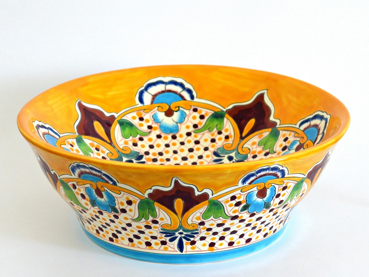 Mexikanisches Waschbecken MEX4 Puebla rund - handbemalt