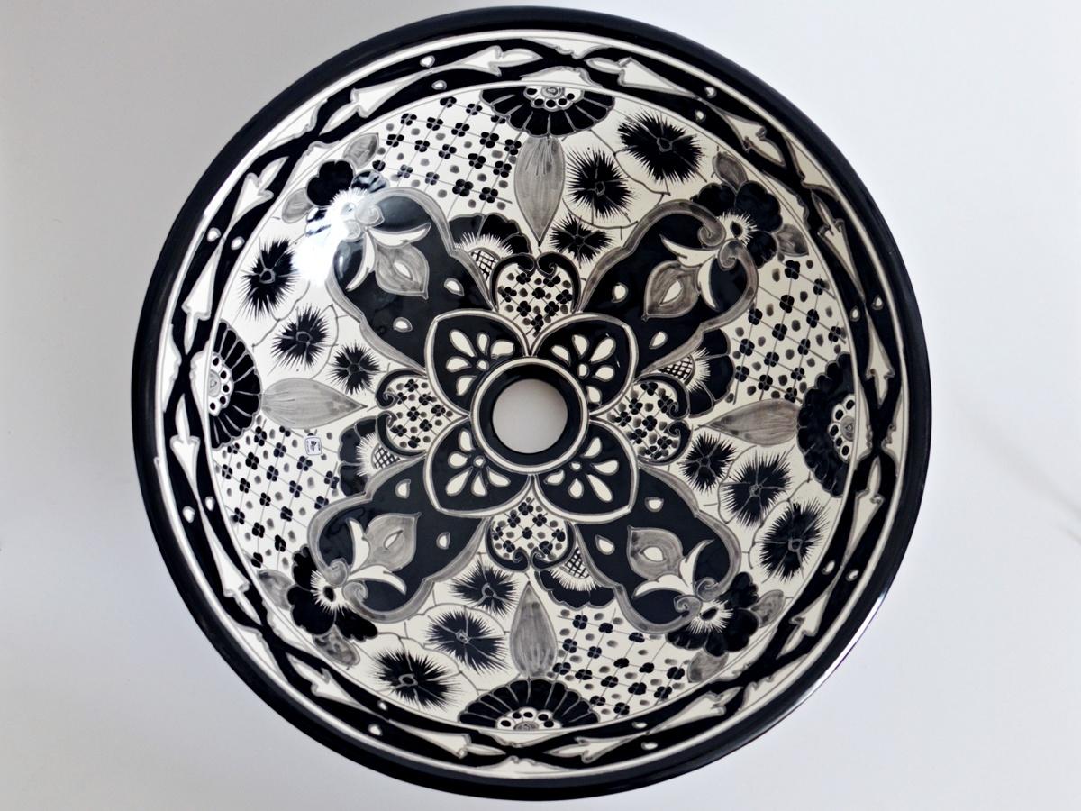 Design Waschbecken Santiago aus Mexiko - handbemalt rund 44 cm