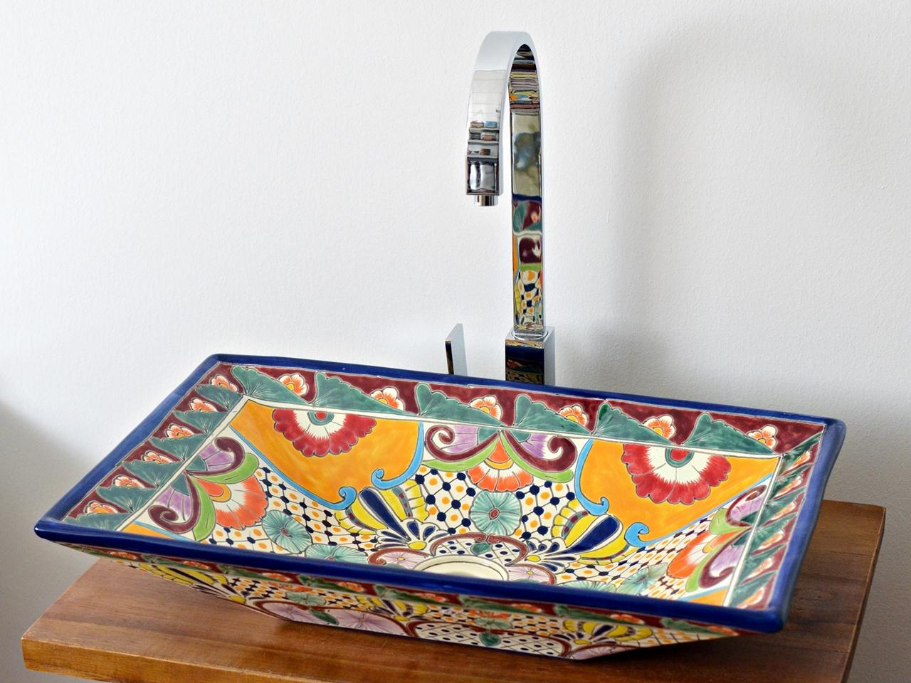 Rechteckiges Design Aufsatzwaschbecken aus Mexiko MEX6 - FRIDA