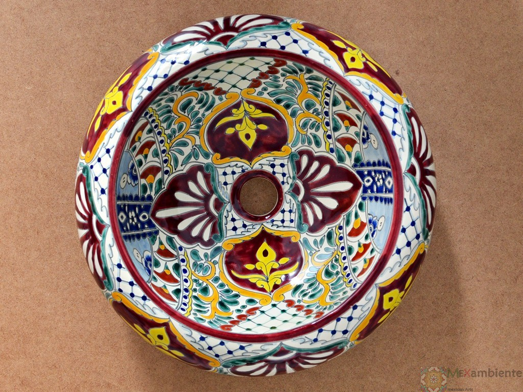 Design Aufsatzwaschbecken aus Mexiko - Donna - Motiv: ALEGRIA