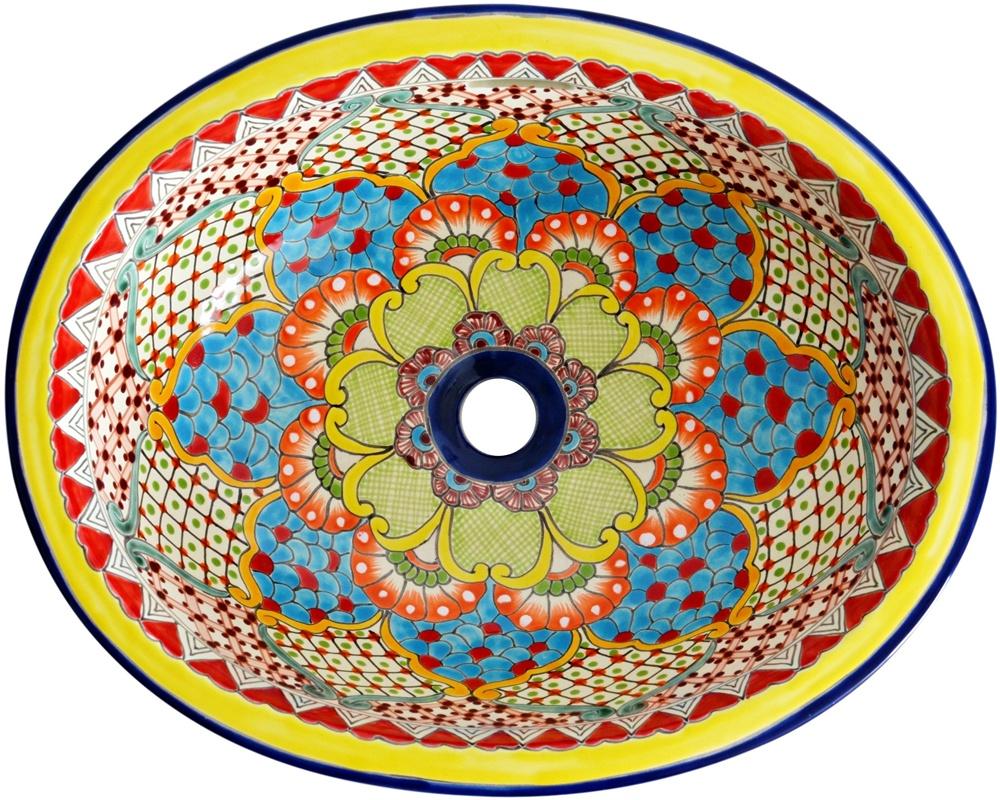 Handbemaltes Mexiko Einbauwaschbecken TALAVERA 1
