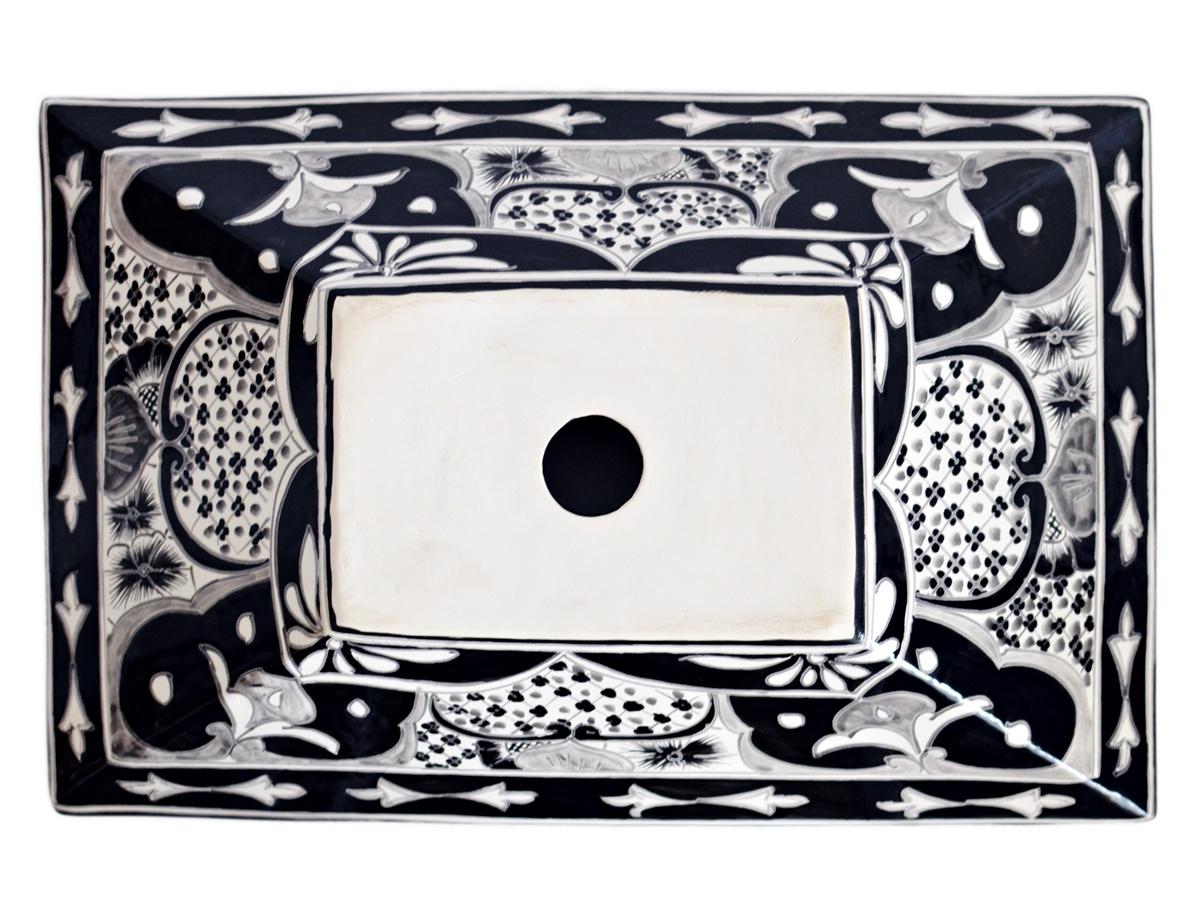 Rechteckiges Design Aufsatzwaschbecken aus Mexiko MEX6 - SANTIAGO in Schwarz-Weiss