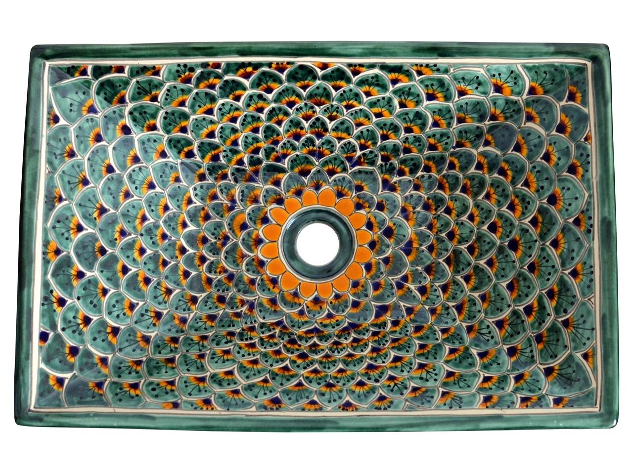 Aufsatzwaschbecken rechteckig PAVO VERDE - exotisches Design von Mexambiente