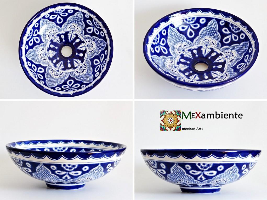 Handbemaltes Aufsatzwaschbecken in Blau-weiß - Mittelgroß - 39 cm
