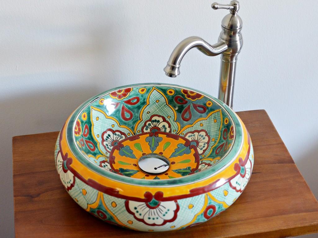 Ethno-Stil Aufsatzwaschbecken VERANO VERDE aus Mexiko, handbemalt!