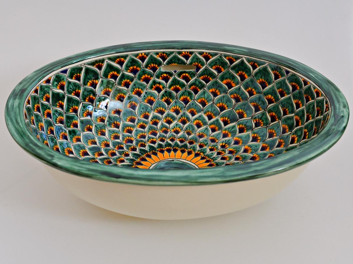 Handbemaltes Einbauwaschbecken oval aus Mexiko, Motiv: PAVO VERDE handbemalt