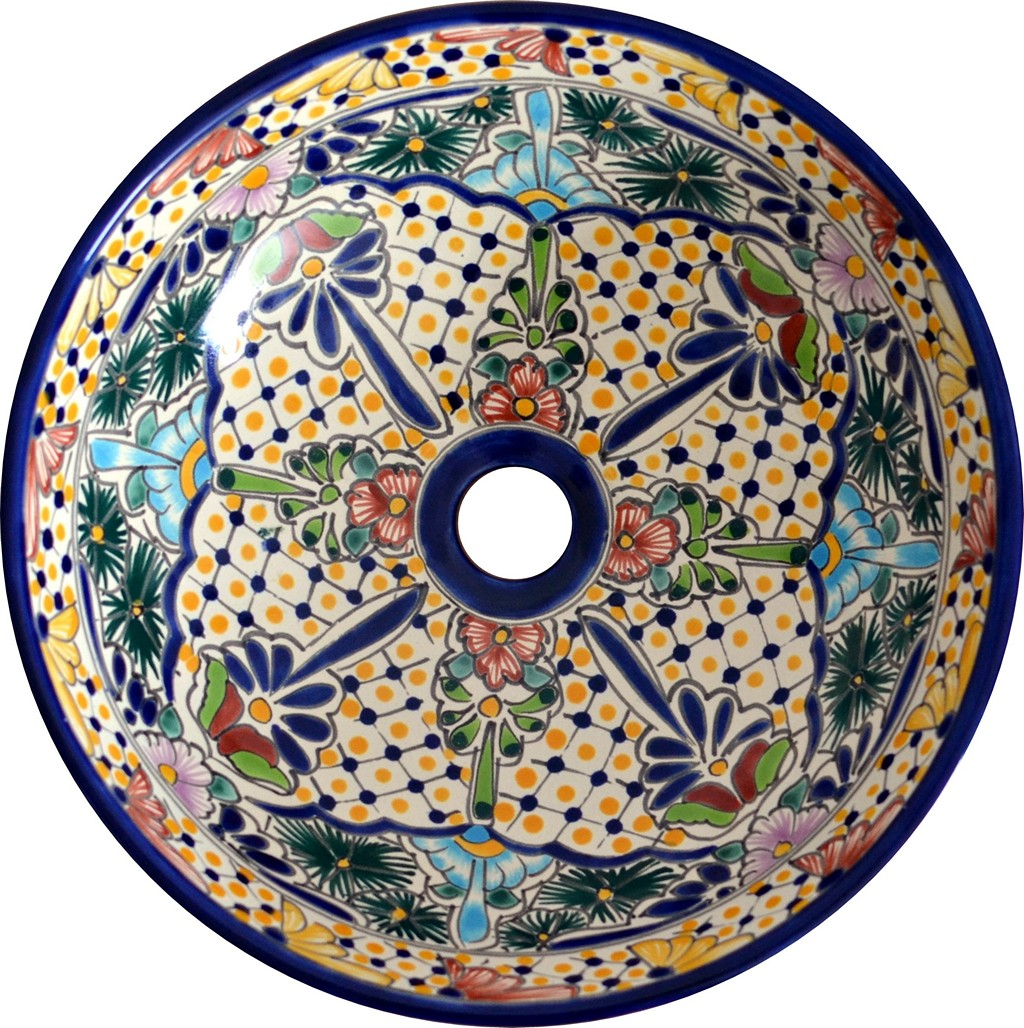 G stewaschbecken belleza aus mexiko bunt handverziert for Kleines aufsatzwaschbecken