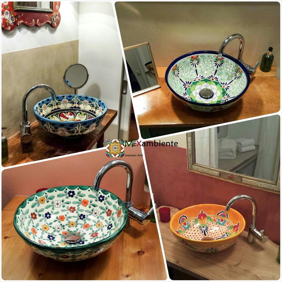 mex3 mexikanische waschsch ssel runde waschschale mexambiente mexikanische waschbecken bunte. Black Bedroom Furniture Sets. Home Design Ideas