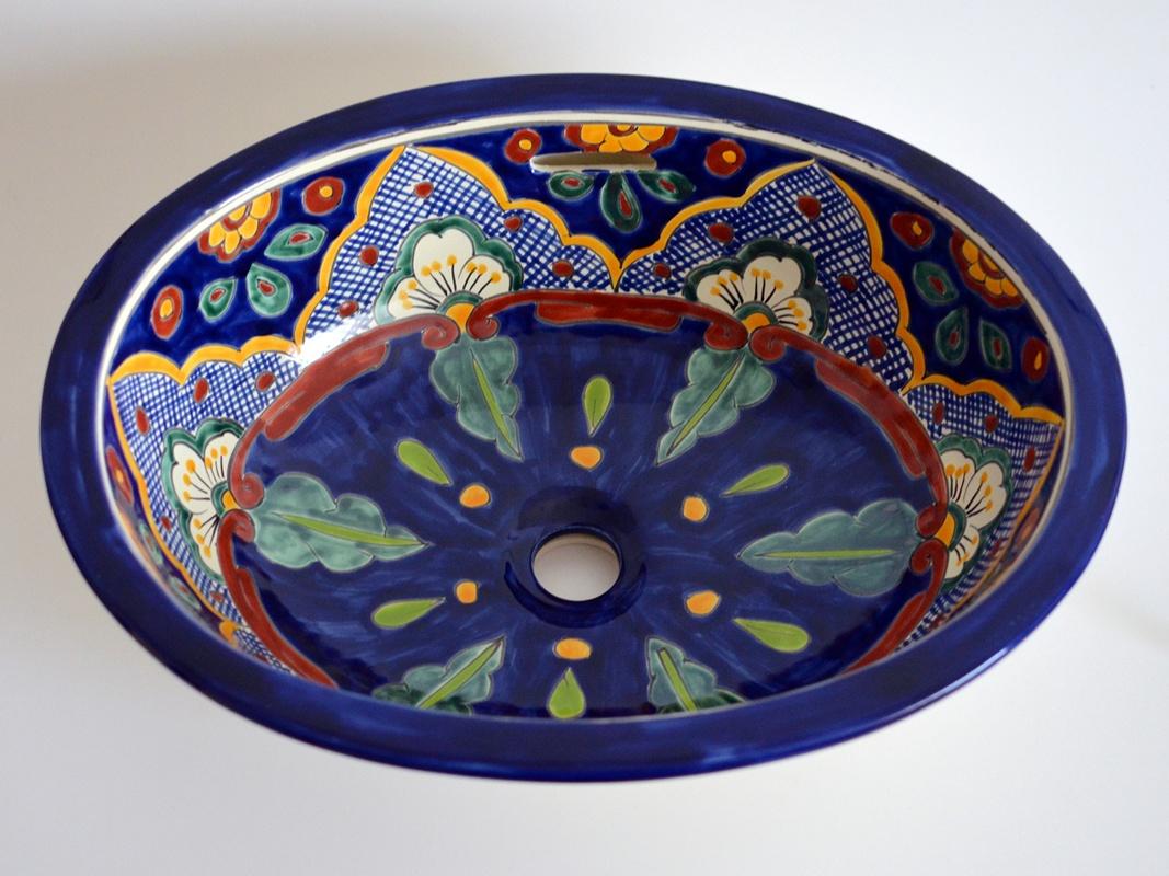 VERANO AZUL - Handbemaltes Einbauwaschbecken oval aus Mexiko