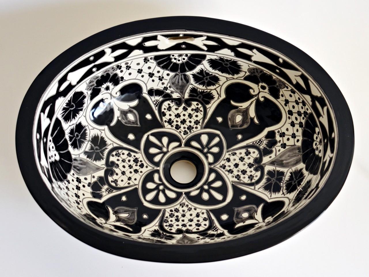 Santiago - Elegantes Einbauwaschbecken oval ca. 50x40 cm aus Mexiko in Schwarz-Weiß