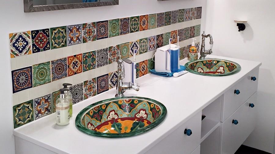 Mexikanische Einbauwaschbecken + Dekorfliesen