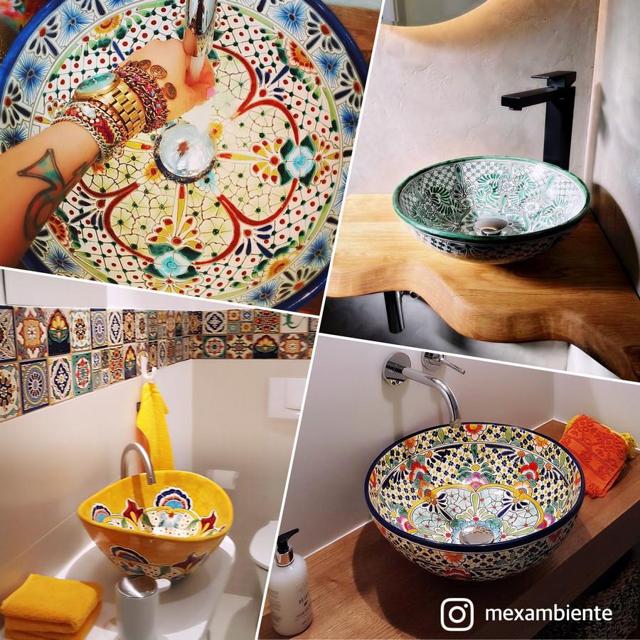 Handbemalte Aufsatzwaschbecken von Mexambiente