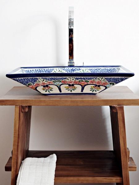 Rechteckiges Design Aufsatzwaschbecken aus Mexiko MEX6 - CELAYA