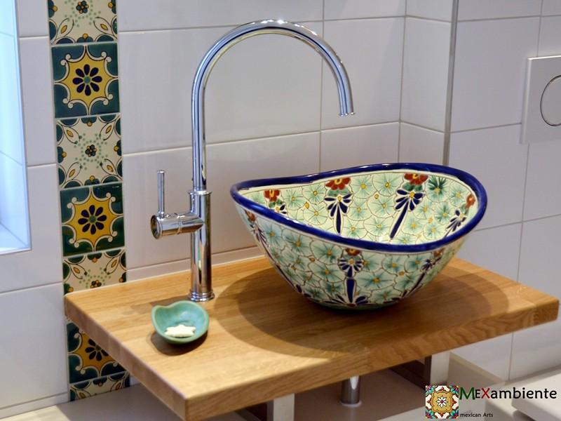 PASION - Mexiko Waschbecken MEX7 - OvaPASION - Mexiko Waschbecken MEX7 - Oval + Fliesen 11x11 cml