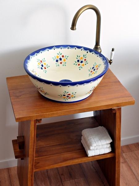 Waschbecken aus Mexiko im Landhausstil Pensamiento (MEX4)