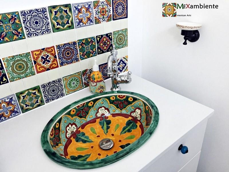 Mexiko Einbauwaschbecken VERANO + Dekorfliesen