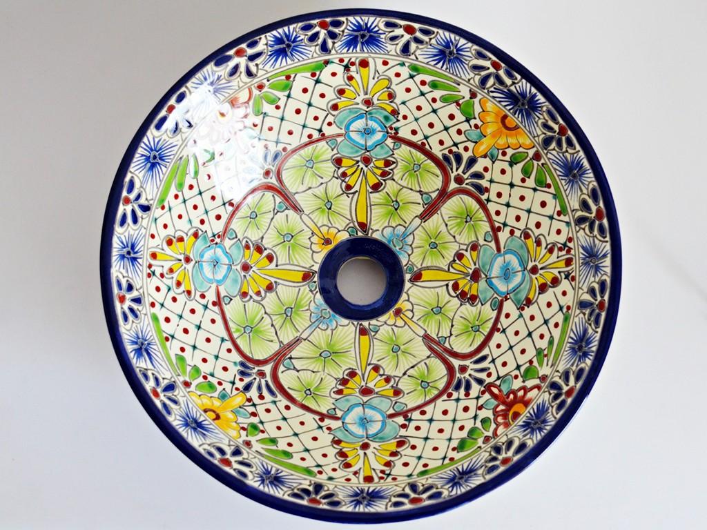 Mexikanisches Aufatzwaschbecken bunt AVENTURA - MEX4 ca. 42 cmMexikanisches Aufatzwaschbecken bunt AVENTURA - MEX4 ca. 42 cm
