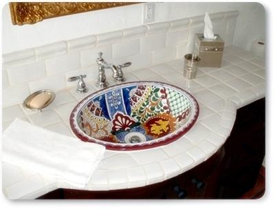 stilvolle handbemalte Waschbecken aus Mexiko - Modell: Alegria