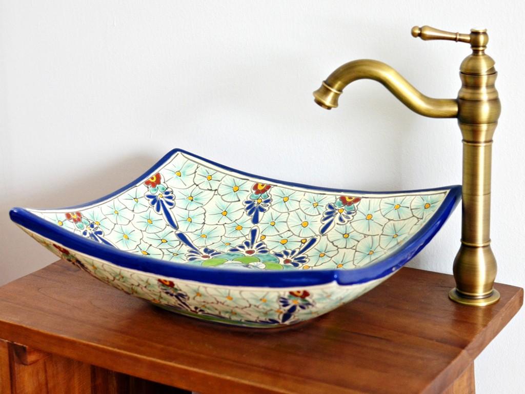 Aufsatzwaschbecken eckig MEX1 - PASION, handbemalt