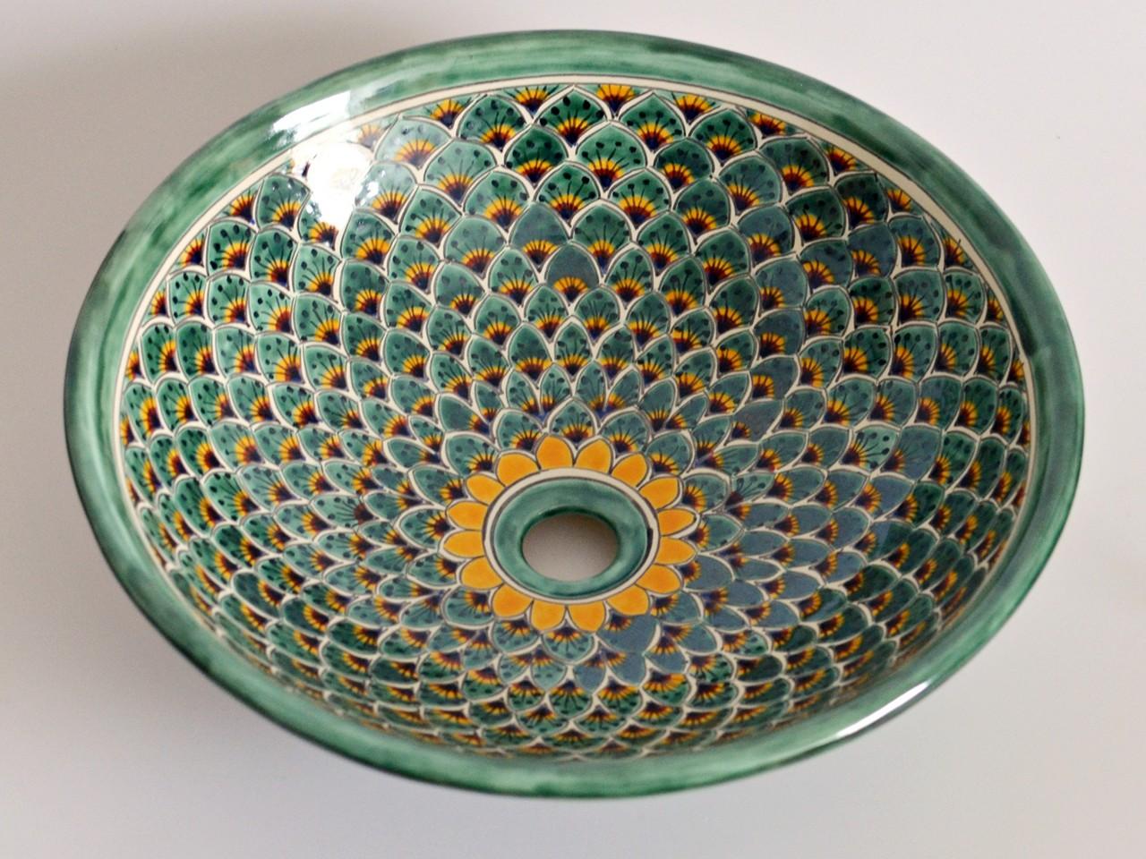 Mexikanisches Aufsatzwaschbecken MEX5 rund PAVO VERDE (44 cm)